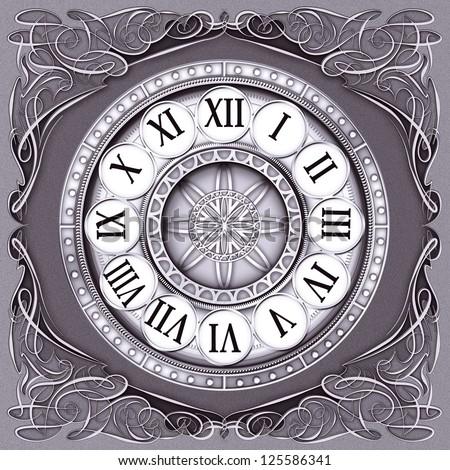 Classic clock face decorated the corners florid ornamentation - stock photo
