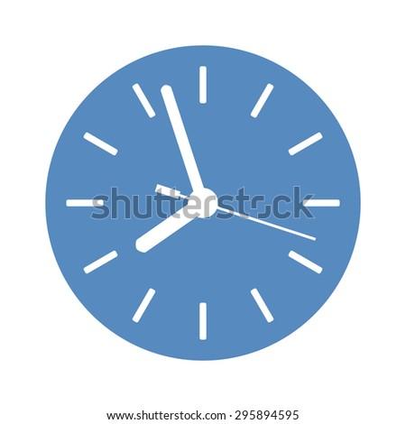 Classic clock icon in blue circle - stock photo