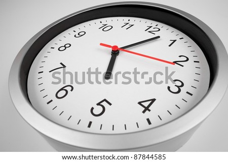 Classic clock macro shot by wide angle lens - stock photo