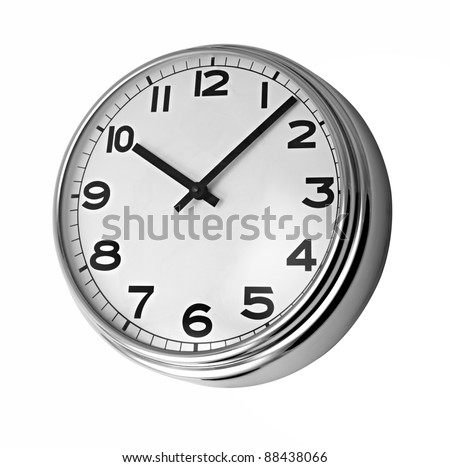 Classic clock on wall reads ten past ten isolated on white background - stock photo