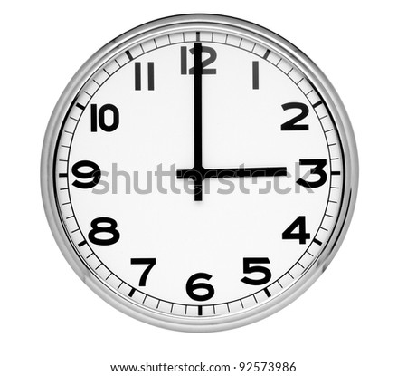 Classic clock on wall reads three isolated on white background - stock photo