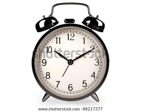 Classic clock on white (3d model) - stock photo