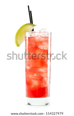 classic cocktail, cape cod served in a glass isolated on a white background - stock photo