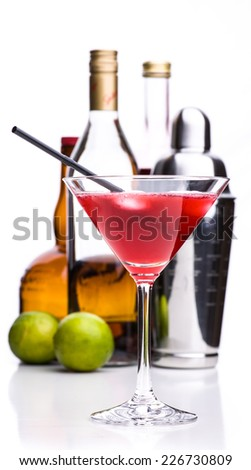 classic cocktails: cosmopolitan with ingredients and shaker - stock photo