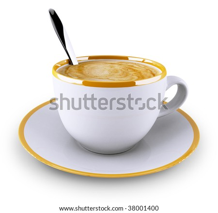 Classic coffee cup isolated on white background - stock photo
