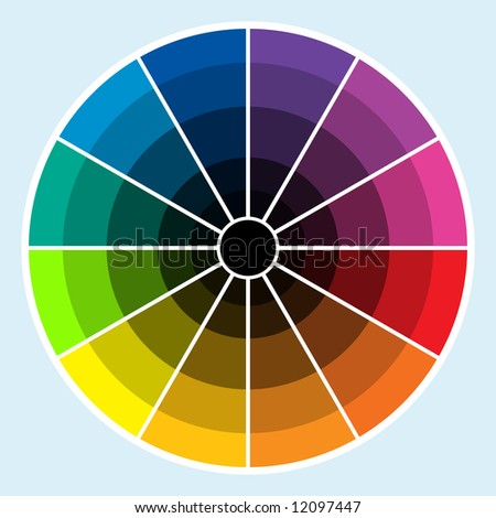 Classic color wheel with colors progressing into the darker shades - stock photo