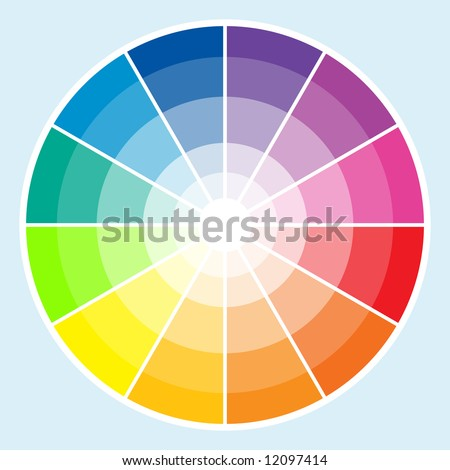 Classic color wheel with the colors moving into lighter shades - stock photo