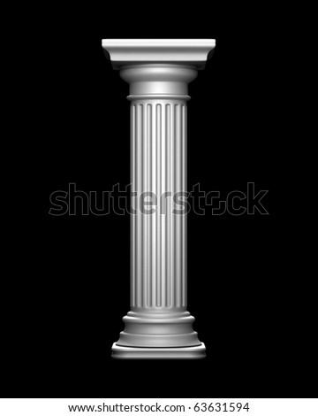 Classic Column on Black - stock photo