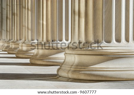 Classic columns background. High dynamic range image - stock photo