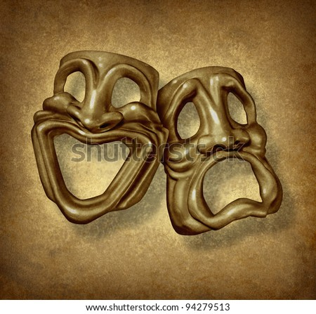 Classic comedy and tragedy grunge masks as a theater symbol and performing arts acting icon with a happy sad face on an old vintage grunge texture for classic movies of the silver screen era. - stock photo