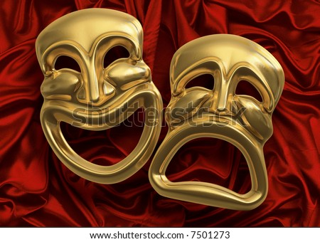 Classic comedy-tragedy theater masks against red curtain fabric - stock photo