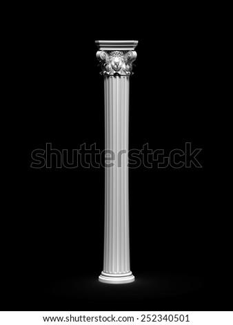 Classic Corinthian Column Isolated On Black - stock photo
