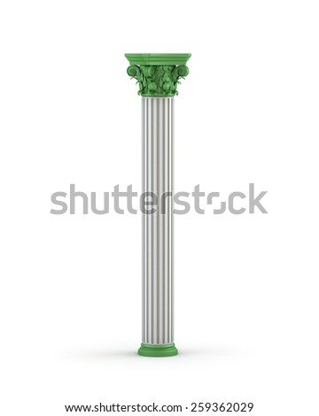 Classic Corinthian Column With Green Elements - stock photo
