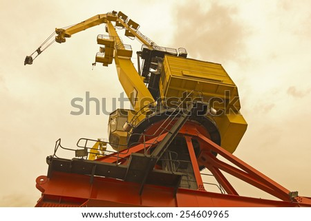 Classic Cranes in the neighborhood of Puerto Madero, over the River Plate. Buenos Aires, Argentina. - stock photo