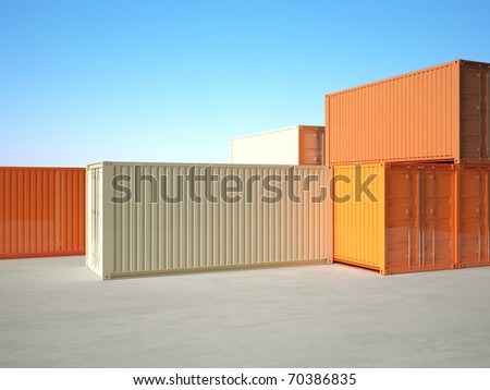 classic 3d metal container on blue sky background