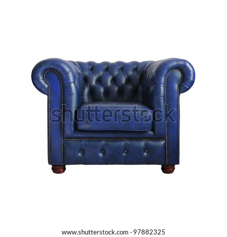 Classic Dark blue leather armchair isolated on white background with clipping path. - stock photo