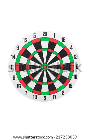 Classic darts board isolated on white background with clipping path - stock photo
