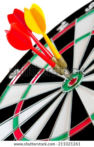 Classic Darts Board with Twenty Black and White Sectors  - stock photo
