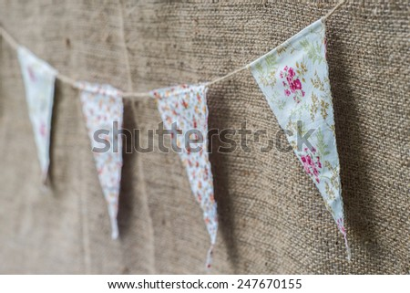 classic decoration flag at the outdoor party - stock photo