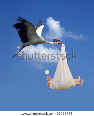 Classic depiction of a stork in flight delivering a newborn baby - stock photo