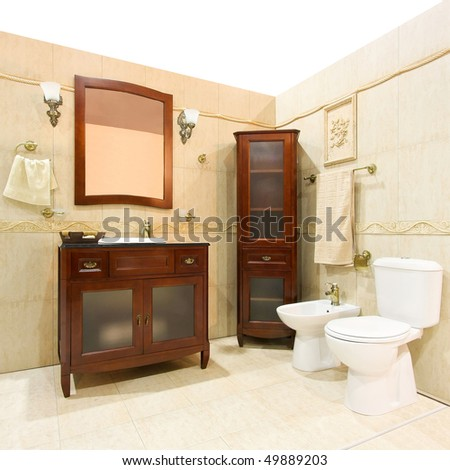 classic design bathroom with brown wood cabinet. Interior Design Ideas. Home Design Ideas