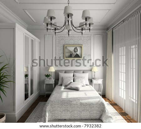 classic design of interior. Badroom. 3D render. - stock photo