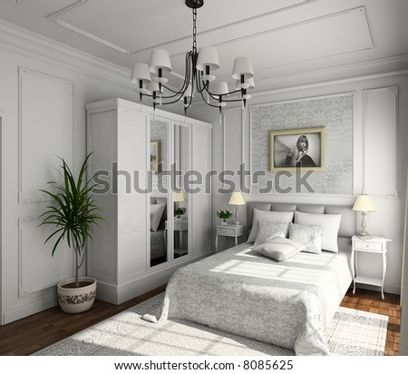 classic design of interior. Bedroom. 3D render. Illustration - stock photo