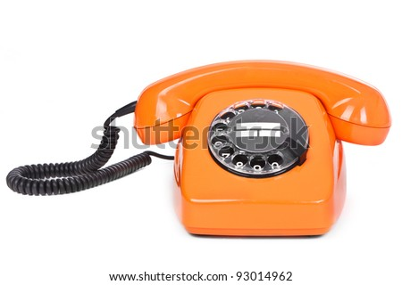 classic dial phone on white background - stock photo