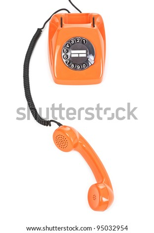 classic dial phone on white background, view from above - stock photo
