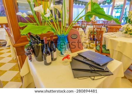 Classic dining room in luxury restaurant hotel. - stock photo