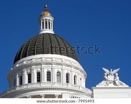 Classic dome on the California State House, Sacramento, California.