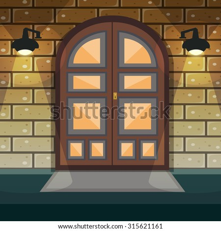 Classic doorway brickwall house facade with home entrance door and lights  illustration - stock photo