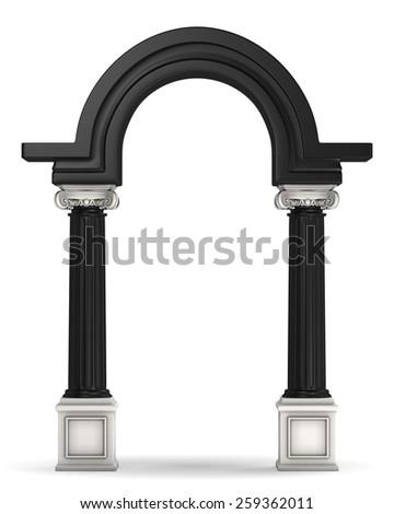 Classic Double Colored Greek Column Arc - stock photo