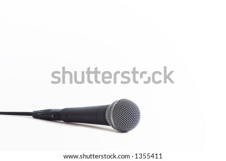Classic dynamic microphone on a white background - stock photo