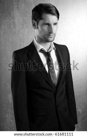 Classic elegant black and white suit handsome man portrait - stock photo