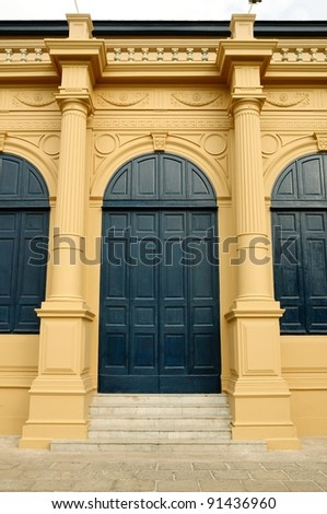 Classic european door of building in Royal grand palace in Bangkok, Thailand
