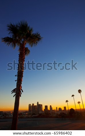 Classic evening view of downtown Los Angeles. - stock photo