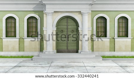 Classic facade with portal and windows - 3D Rendering - stock photo