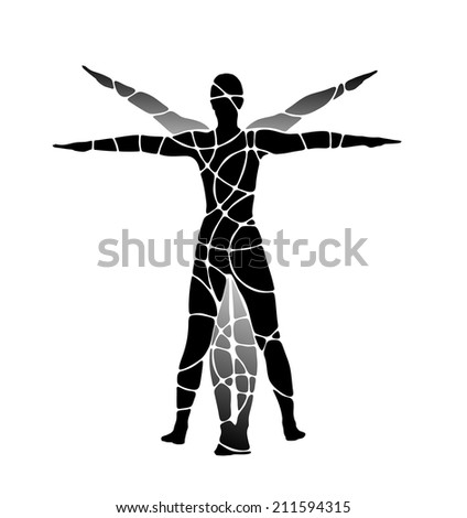 classic figure of human being with arms stretched out