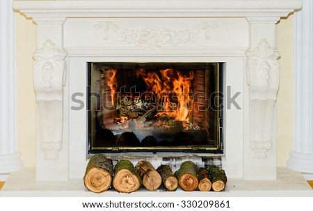 Classic Fireplace in white stone with ornaments - stock photo