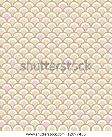 Classic fish scale pattern in a subdued palette of pink and tan - stock photo