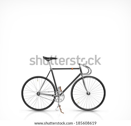 Classic fixed gear bicycle isolated on white - stock photo