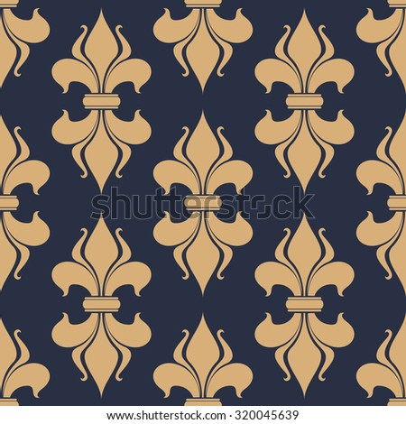 Classic French gray and beige fleur-de-lis seamless background pattern with a repeat motif in square format suitable for wallpaper, tiles and fabric design - stock photo