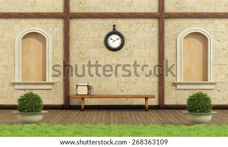 Classic garden with two niche,stone wall and wooden bench with books - 3D Rendering - stock photo
