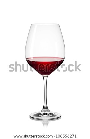 Classic Glass of Red Wine isolated on a white background - stock photo