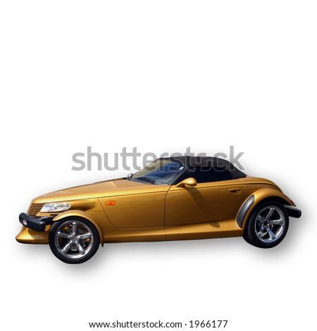 Classic gold convertible car. Clipping Path. - stock photo