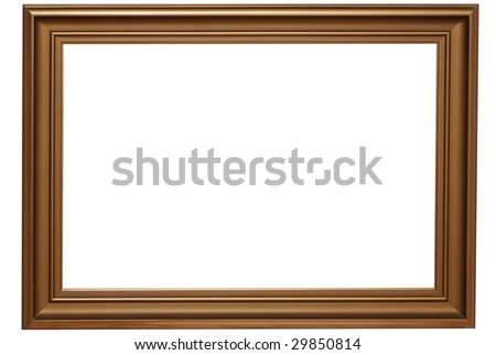 Classic gold frame isolated on white background. Clipping path included