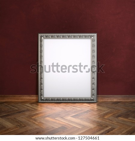 Classic Golden Carved Frame In Gallerry Interior (Maroon Wall Version) - stock photo