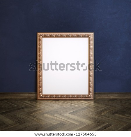 Classic Golden Carved Frame In Gallerry Interior (Navy Blue Wall Version) - stock photo