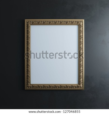 Classic Golden Carved Frame On Black Wall (Rectangle Vertical Version) - stock photo